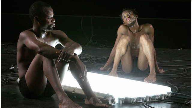 Congolese performers Papy Ebotani (left) and Faustin Linyekula