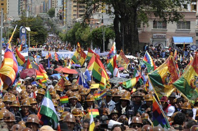 Bolivian miners at a rally in Villarroel Square, La Paz