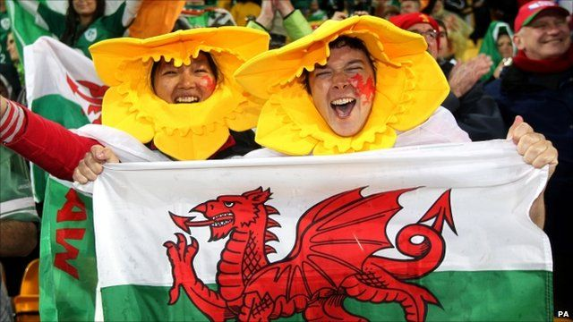Welsh fans celebrate after Wales' victory over Ireland