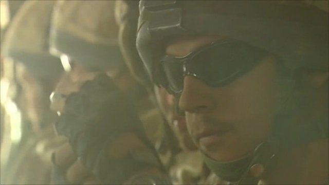 Soldier wearing sunglasses