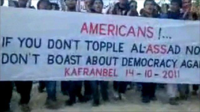 Rally in Syria against President Bashar al-Assad