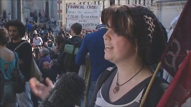 Protester in the City of London