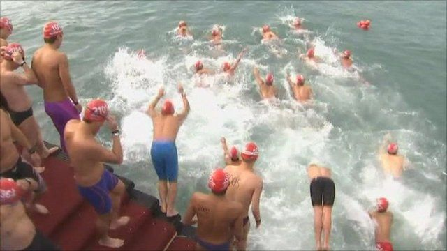Brave swimmers in Hong Kong