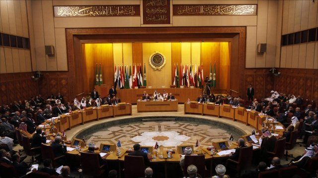 Arab League foreign ministers discuss Syria at their headquarters in Cairo