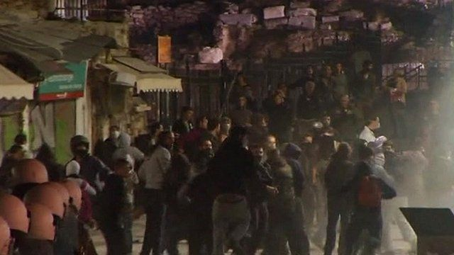 Angry protesters in streets of Athens