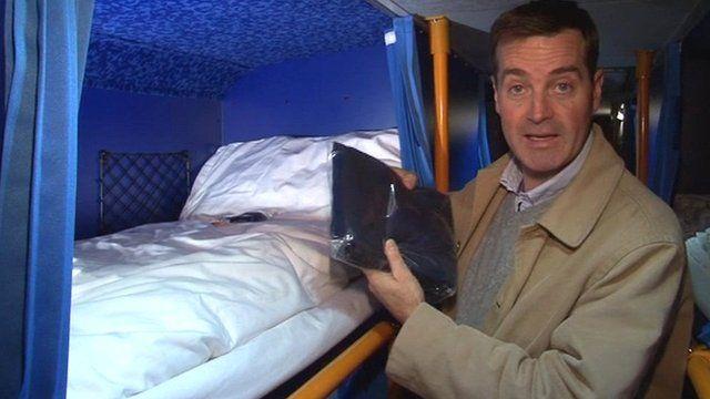 Richard Lister on the sleep bus