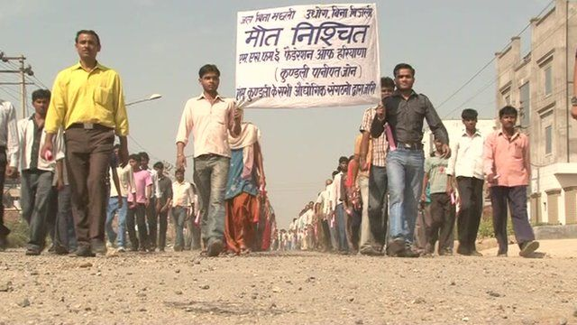 Workers in the Indian state of Haryana protesting power shortages.