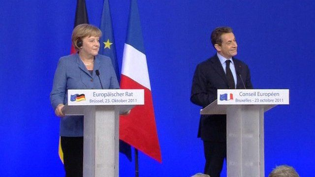 Chancellor Merkel and President Sarkozy at the EU summit