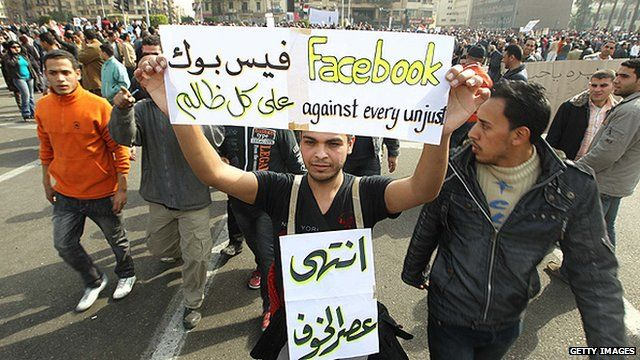 Protesters in Tahrir Square in Cairo in February 2011