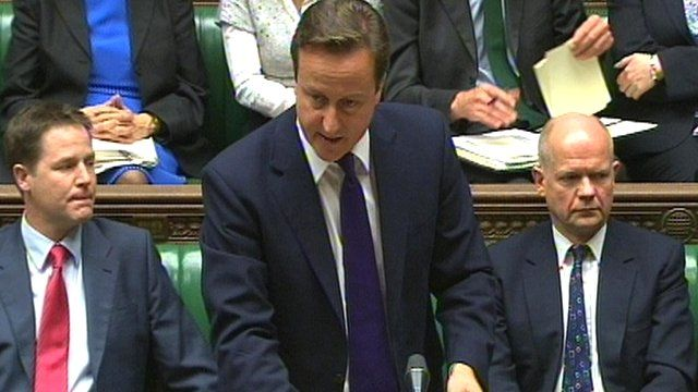 David Cameron (centre) addresses MPs