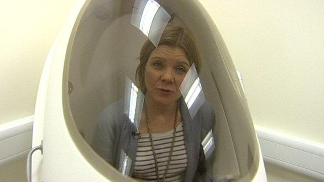 Jane Hughes in bod pod