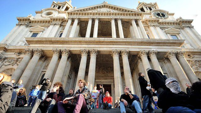 Protesters sitting outside St Paul's