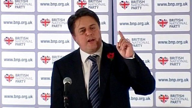 Leader of the British National Party, Nick Griffin, speaking at the party's annual conference