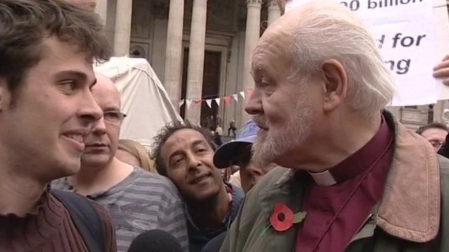Bishop of London with protesters