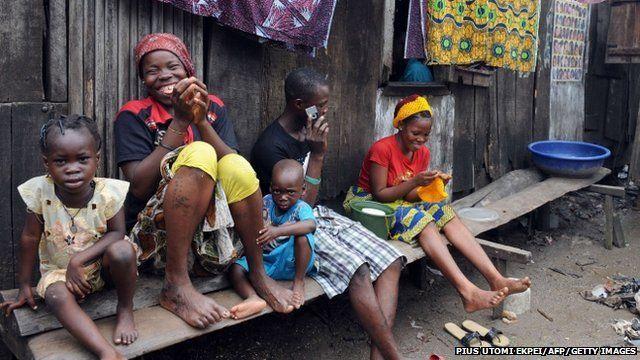 A family in a slum in Lagos, Nigeria