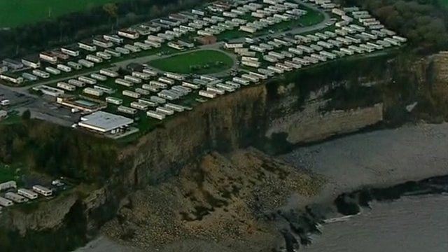 Aerial of caravan site near Barry in the Vale of Glamorgan