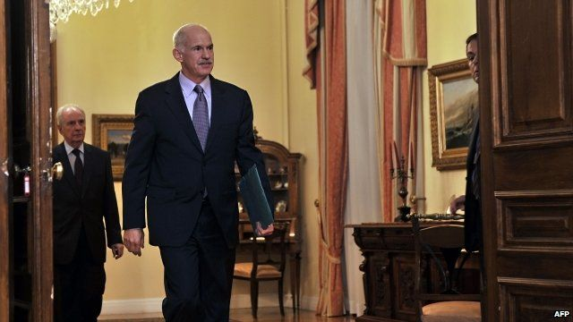 George Papandreou at the Greek presidential palace