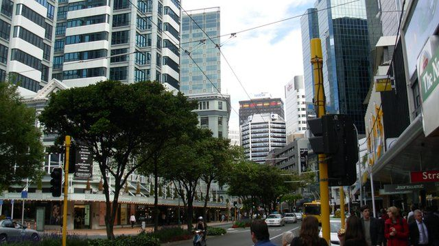 The business district of Wellington, New Zealand