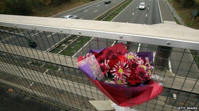 Flowers on motorway bridge
