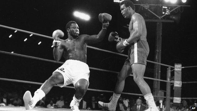 Joe Frazier fighting George Formean in 1973.