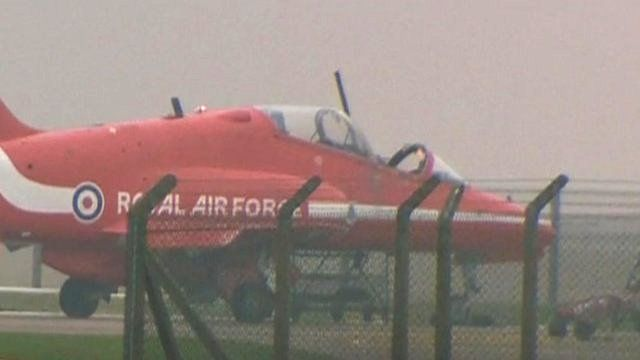 Red Arrows plane with missing cockpit canopy