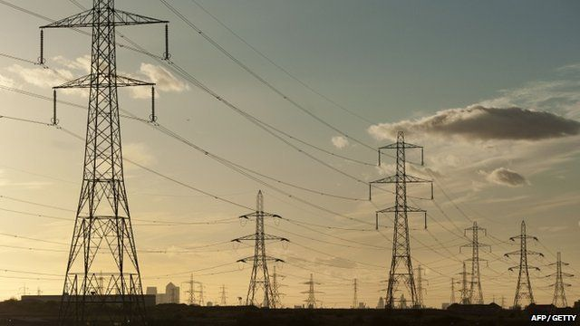 Electricity pylons are pictured near Barking Power Station in east London