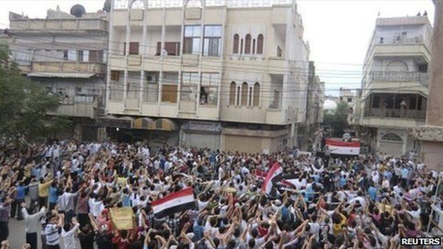Protesters in Homs, Syria - 30 September 2011