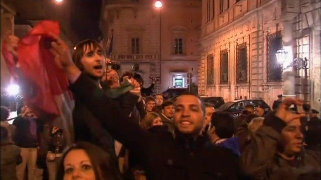 Italians celebrate the resignation of Silvio Berlusconi