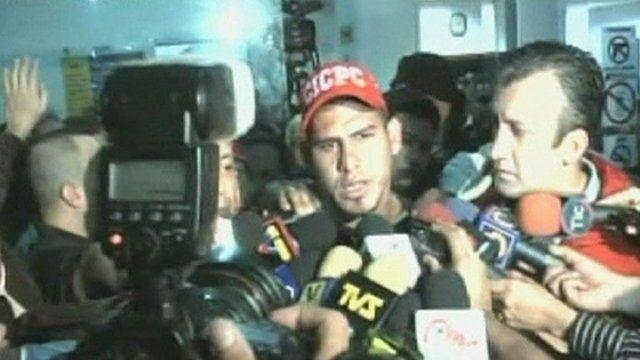 The Venezuelan baseball star Wilson Ramos talks to the media.