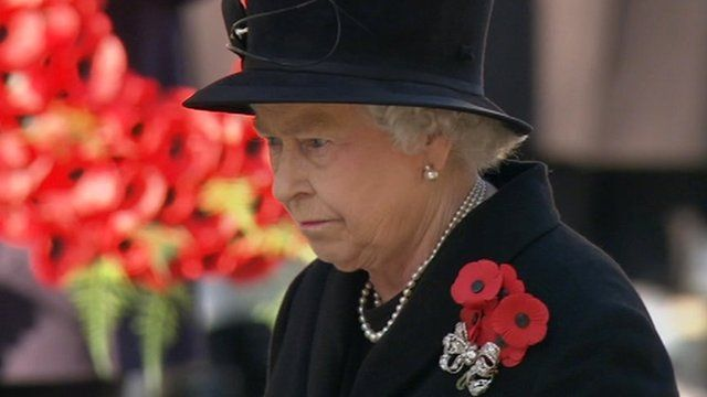 The Queen at the Cenotaph in London