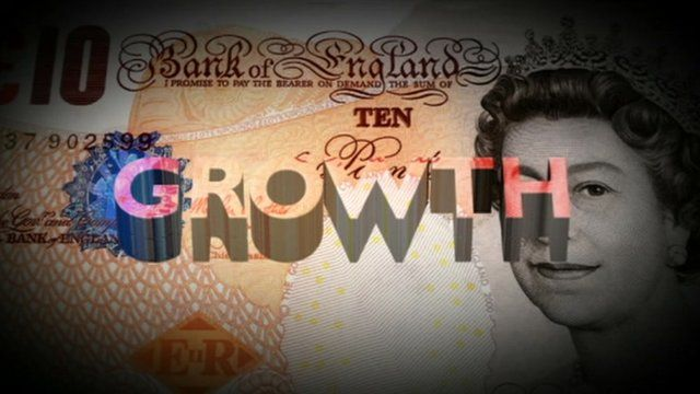 Graphic showing £10 note with growth symbols