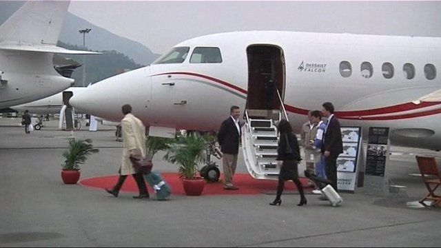 Passengers get off private jet