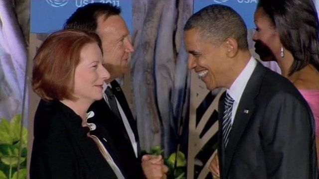 President Obama meets Australian Prime Minister Julia Gillard in Hawaii