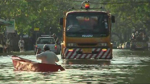 A flooded road in Bangkok