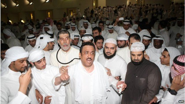 Crowds after storming the Kuwaiti National Assembly in Kuwait City