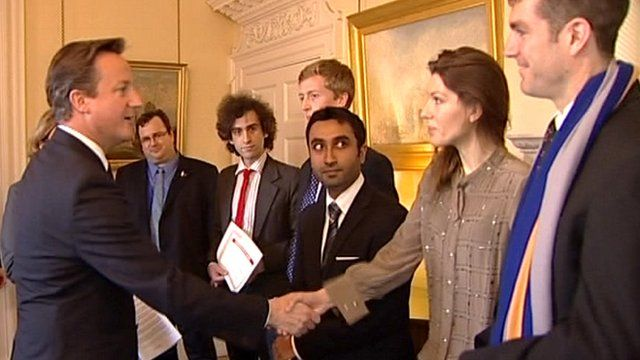 Prime Minister David Cameron meeting students
