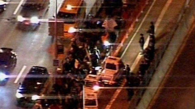 Demonstrators crossing Brooklyn Bridge