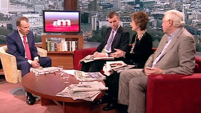 Andrew Marr reviews the Sunday newspapers with Maureen Lipman, Tim Montgomerie and John Simpson