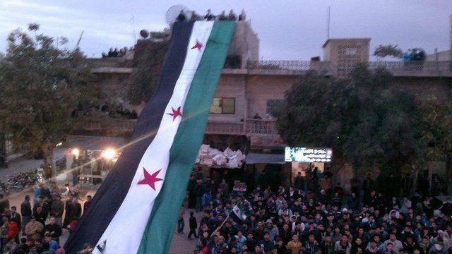 Demonstrators against Syria's president