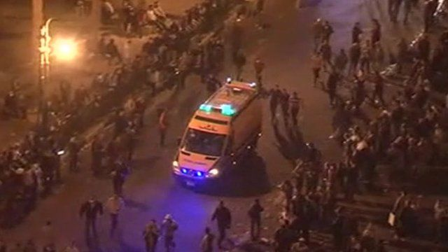 An ambulance arrives in Tahrir Square
