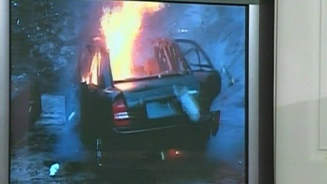 Exploded car on fire: New York police constructed a replica of the suspect's alleged device.