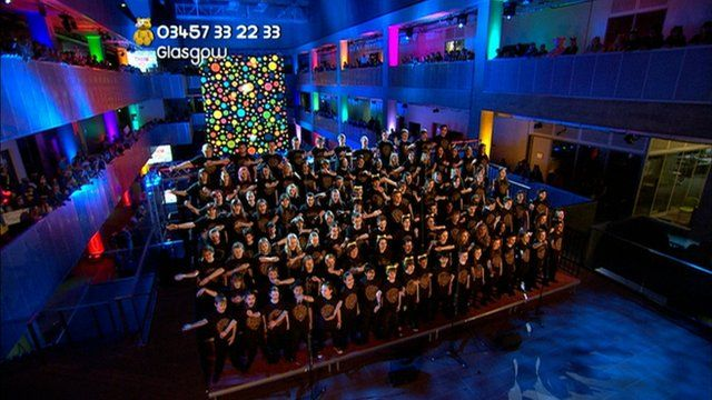 The Children in Need choir sing in Glasgow