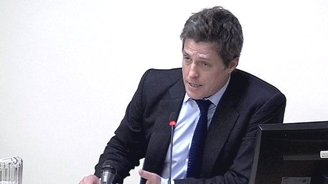 Actor Hugh Grant gives evidence at the Leveson phone hacking inquiry