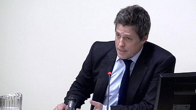 Actor Hugh Grant gives evidence at the Leveson Inquiry