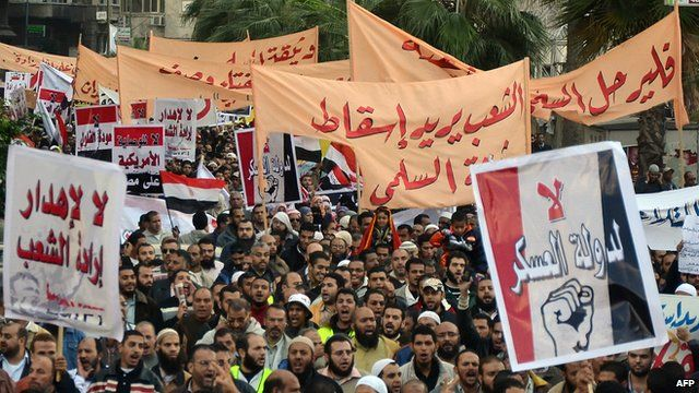 Protesters in Alexandria on Friday.