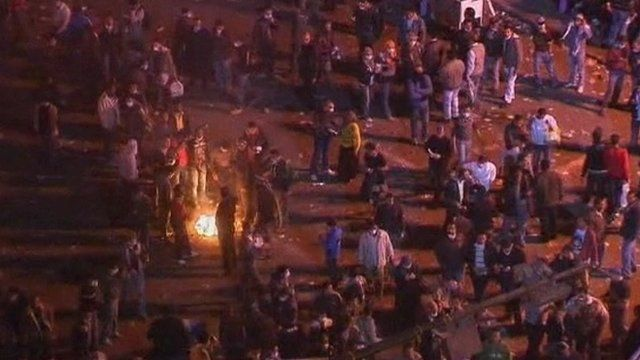 Protesters in Tahrir Square on Tuesday night