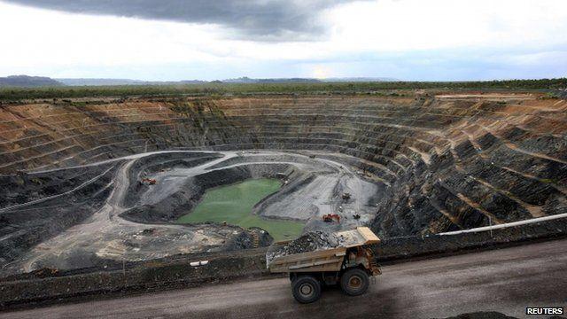 A haul truck transports uranium ore