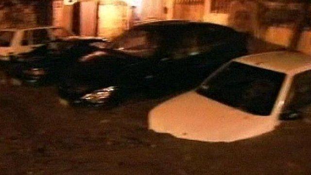 Cars swamped by mudslide