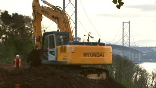 Digger works on bridge contruction