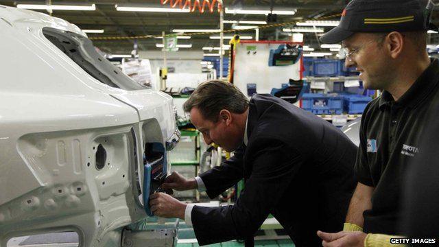 David Cameron at Toyota factory